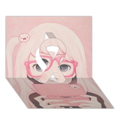 Gamegirl Girl Ribbon 3d Greeting Card (7x5)  by kaoruhasegawa