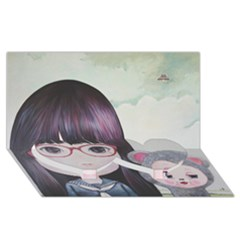 Close Encounter 4 Twin Heart Bottom 3d Greeting Card (8x4)  by kaoruhasegawa