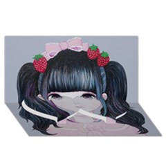 Nakayoshi Strawberry Twin Heart Bottom 3d Greeting Card (8x4)  by kaoruhasegawa