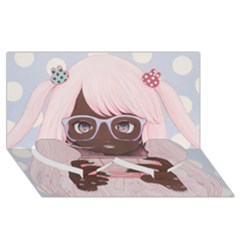 Gamergirl 3 Twin Heart Bottom 3d Greeting Card (8x4)