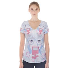 Gamegirl Girl Play with star Short Sleeve Front Detail Top by kaoruhasegawa