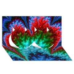 Amazing Special Fractal 25b Twin Hearts 3d Greeting Card (8x4)  by Fractalworld