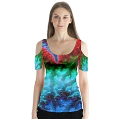 Amazing Special Fractal 25b Butterfly Sleeve Cutout Tee  by Fractalworld