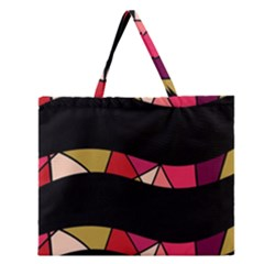 Abstract Waves Zipper Large Tote Bag by Valentinaart