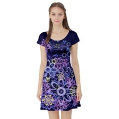 Night Flowers Short Sleeve Skater Dress by olgart