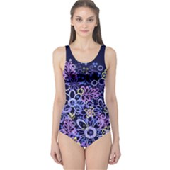 Night Flowers One Piece Swimsuit by olgart