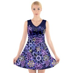 Night Flowers V Neck Sleeveless Skater Dress by olgart