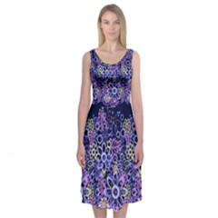 Night Flowers Midi Sleeveless Dress by olgart