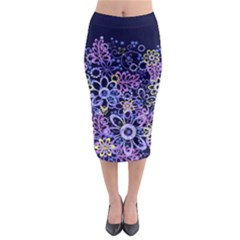 Night Flowers Midi Pencil Skirt by olgart