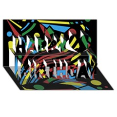 Optimistic Abstraction Happy Birthday 3d Greeting Card (8x4)