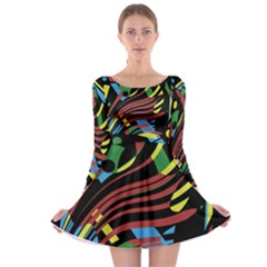 Optimistic Abstraction Long Sleeve Skater Dress by Valentinaart