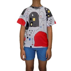 Playful Abstraction Kid s Short Sleeve Swimwear by Valentinaart