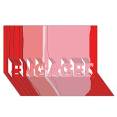 Red And Pink Lines Engaged 3d Greeting Card (8x4)  by Valentinaart