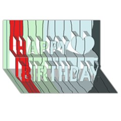 Decorative Lines Happy Birthday 3d Greeting Card (8x4)  by Valentinaart