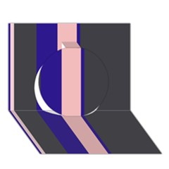 Purple, Pink And Gray Lines Circle 3d Greeting Card (7x5)