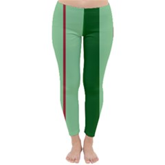 Green And Red Design Winter Leggings  by Valentinaart