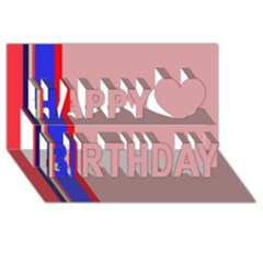 Pink Elegant Lines Happy Birthday 3d Greeting Card (8x4)