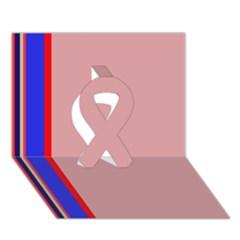 Pink Elegant Lines Ribbon 3d Greeting Card (7x5)  by Valentinaart