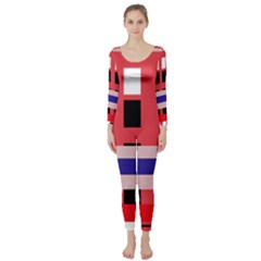 Red Abstraction Long Sleeve Catsuit by Valentinaart