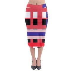 Red Abstraction Midi Pencil Skirt by Valentinaart