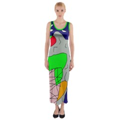 Crazy Abstraction Fitted Maxi Dress by Valentinaart