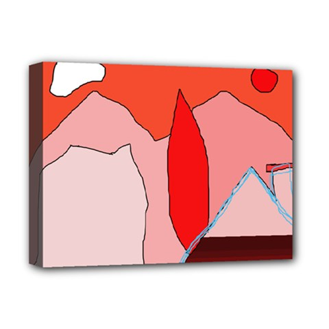 Red Landscape Deluxe Canvas 16  X 12   by Valentinaart