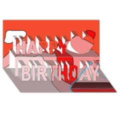 Red Landscape Happy Birthday 3d Greeting Card (8x4)