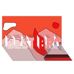 Red landscape BEST BRO 3D Greeting Card (8x4)  by Valentinaart