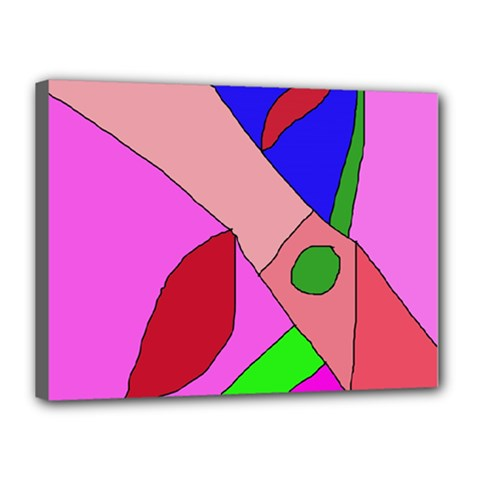 Pink Abstraction Canvas 16  X 12  by Valentinaart