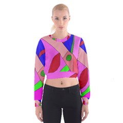 Pink Abstraction Women s Cropped Sweatshirt by Valentinaart