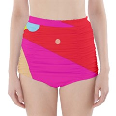 Colorful Abstraction High Waisted Bikini Bottoms