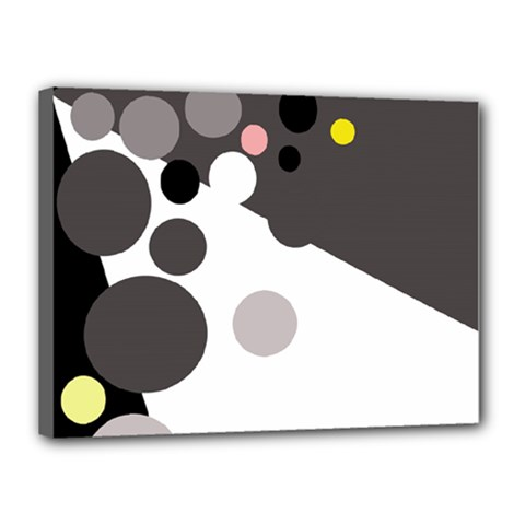 Gray, Yellow And Pink Dots Canvas 16  X 12  by Valentinaart