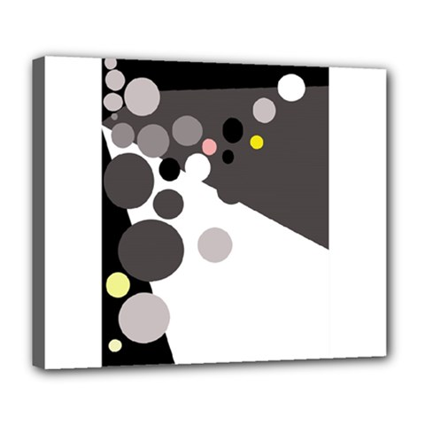 Gray, Yellow And Pink Dots Deluxe Canvas 24  X 20   by Valentinaart