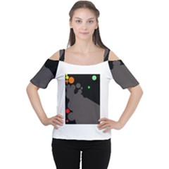 Colorful Dots Women s Cutout Shoulder Tee by Valentinaart