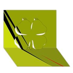 Yellow Elegant Design Clover 3d Greeting Card (7x5)  by Valentinaart