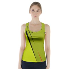 Yellow Elegant Design Racer Back Sports Top by Valentinaart