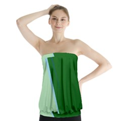 Green Design Strapless Top