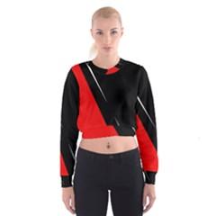 Black And Red Design Women s Cropped Sweatshirt by Valentinaart
