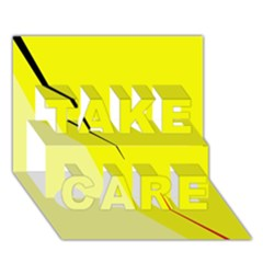 Yellow design TAKE CARE 3D Greeting Card (7x5)  by Valentinaart
