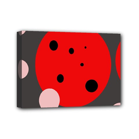 Red And Pink Dots Mini Canvas 7  X 5  by Valentinaart