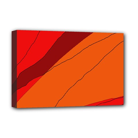 Red And Orange Decorative Abstraction Deluxe Canvas 18  X 12   by Valentinaart