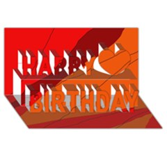 Red And Orange Decorative Abstraction Happy Birthday 3d Greeting Card (8x4)  by Valentinaart