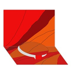 Red And Orange Decorative Abstraction Circle Bottom 3d Greeting Card (7x5)