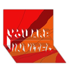 Red And Orange Decorative Abstraction You Are Invited 3d Greeting Card (7x5)  by Valentinaart