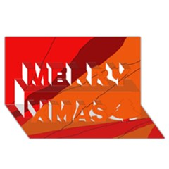 Red And Orange Decorative Abstraction Merry Xmas 3d Greeting Card (8x4)  by Valentinaart