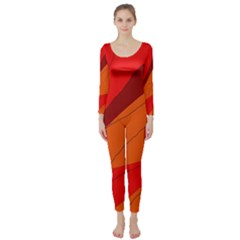 Red And Orange Decorative Abstraction Long Sleeve Catsuit by Valentinaart