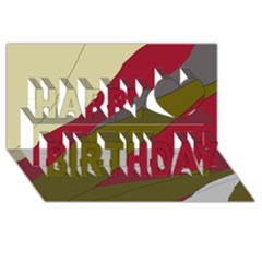 Decoratve Abstraction Happy Birthday 3d Greeting Card (8x4)