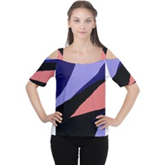 Purple and pink abstraction Women s Cutout Shoulder Tee by Valentinaart