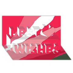 Pink Abstraction Best Wish 3d Greeting Card (8x4)