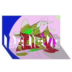 Flora Abstraction Believe 3d Greeting Card (8x4)